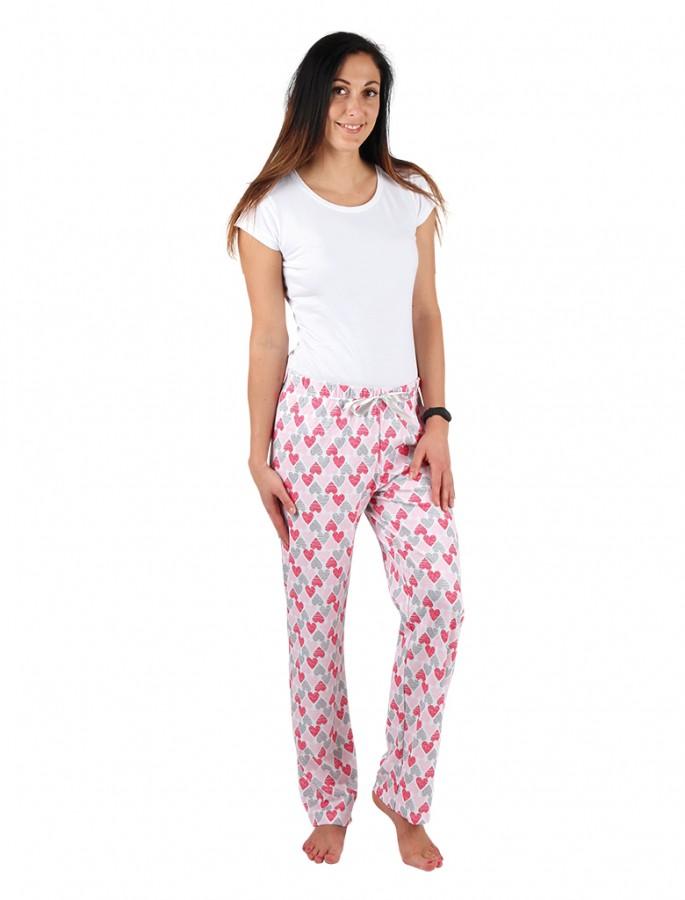c042b1f853f1 Dámske pyžamové nohavice ZOE srdiečka ružové