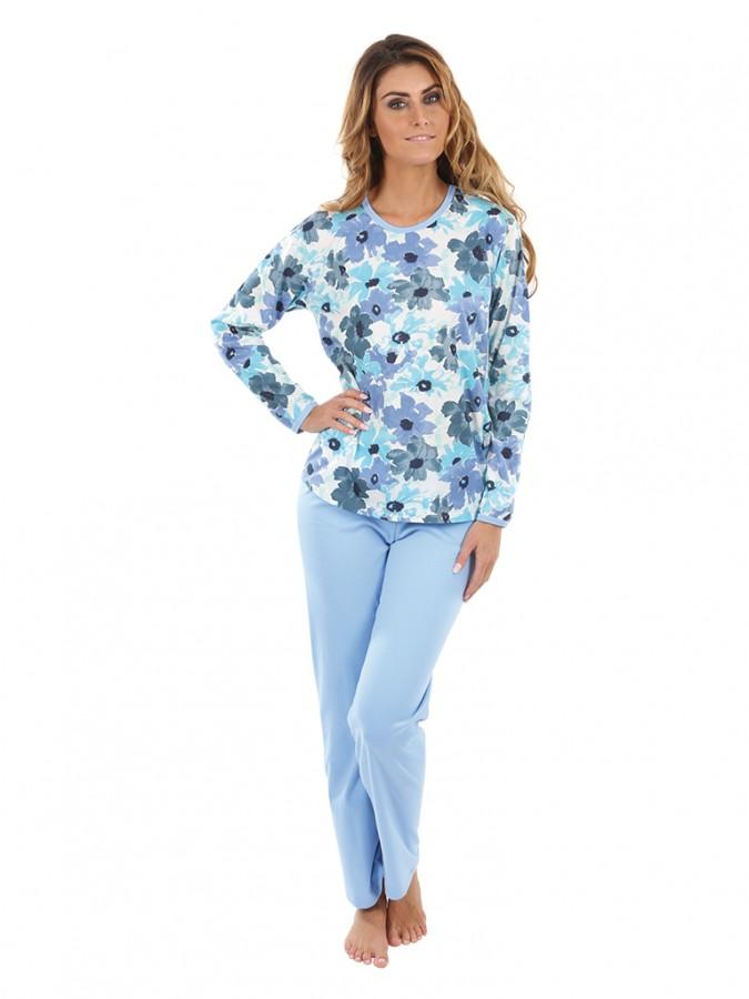 b604dbf8d341 Dámske pyžamo P1406 kvety modré