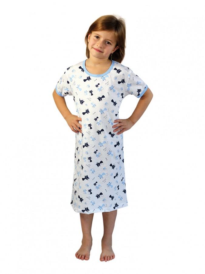 becc2de35771 Dievčenská nočná košeľa P1415 MAČIČKY modré