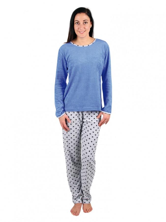 7a33ef495 Dámske froté pyžamo P 1422 modré | EVONA
